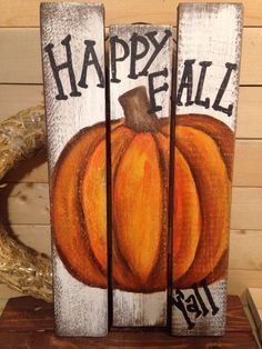 HAPPY FALL Y& PUMPKIN Sign. Great plaque for a living room, kitchen, hallway, deck, front porch or entry. 