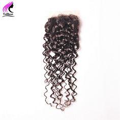 Vallbest Water Wave Lace Closure Remy Hair Weave 100% Human Hair 4X4 Natural Black Hair Closure 120% Density Free Part