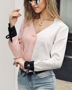 Colorblock Insert Long Sleeve Casual Blouse - Just Shop Trend Fashion, Look Fashion, Fashion Outfits, Estilo Fashion, Blouse Styles, Blouse Designs, Textiles Y Moda, Ladies Dress Design, Pattern Fashion