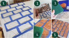 How to stencil a brick pattern table cover
