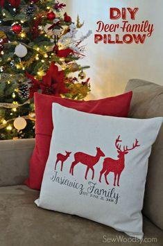 DIY Deer Family Pillow Cover using /Cricut/ Explore & Iron-On Vinyl! #SecretCricutSanta #Cricut
