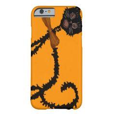 Wiry Black Cat Bow Tie Orange iPhone 6 Case