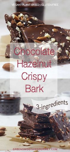 Chocolate Hazelnut Crispy Bark {3-ingredients – Vegan} Using only a measuring cup, loaf pan and spoon, I had this healthy bark mixed up and in the refrigerator in 5 minutes flat! RECIPE: https://greensmoothiegourmet.com/chocolate-hazelnut-crispy-bark-3-ingredients-vegan/