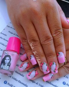 30 fotos de Unhas Bonitas decoradas em cor de rosa Fingernail Polish Designs, Nail Art Designs, Manicure Colors, Nail Colors, Purple And Pink Nails, Cat Nails, Classy Nails, Beautiful Nail Art, Easy Nail Art