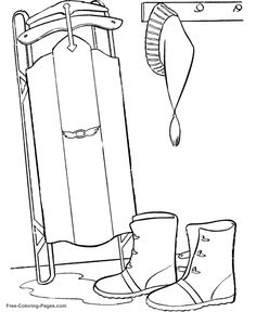 Winter coloring pages - A Sled 15