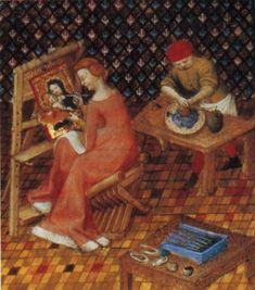 In questa miniatura della Bibliothéque Nationale di Parigi risalente al 1403 è raffigurata la pittrice greca TIMARETE (chiamata nel medioevo Thamar) seduta al cavalletto con un aiutante che le prepara i colori: sta eseguendo una tavola con la Madonna e il Bambino.