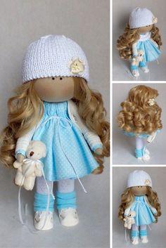 Fabric doll Interior doll Tilda doll Interior doll Art doll Handmade doll Blue doll Soft doll Textile doll Cloth doll