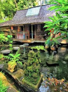 Bambu Indah, Ubud Picture: Bambu Indah, near Ubud - Check out TripAdvisor members' candid photos and videos of Bambu Indah Tropical Houses, Tropical Garden, Bali Style Home, Bamboo House Design, Bali House, Natural Structures, Cool House Designs, Ubud, Traditional House