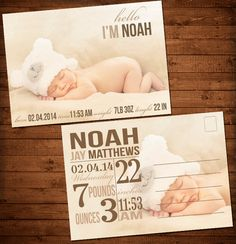 Photo Postcard Baby Announcement Newborn by MKLiveLaughLoveShop