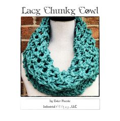 Lacy Chunky Cowl Knitting Pattern - Craft Party Circle Loop Scarf, Cowl, Quick Knit - Chunky Knit Scarf DIY Christmas Gift WWKIP Day by IndustrialWhimsy on Etsy https://www.etsy.com/listing/129567398/lacy-chunky-cowl-knitting-pattern-craft