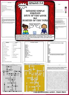 Buenas,  This resource for your ESL/Spanish Classes for 5-8 grade will reinforce simple phrases, as well as months of the year/days of the weeks. There is a color, black/white simple phrase crossword puzzle with clues and a word bank with the Spanish phra