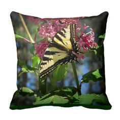Black and Yellow Butterfly on Lilacs Throw Pillow