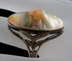 Art Deco Large Blister Pearl Sterling Silver Size 9 Antique Estate Ring | eBay