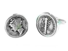Personalized Real Coin Cufflinks - Handmade Cuff Links Made From Mercury Dimes, Indian Head Nickels by Sports Cufflinks and Jewelry   Hatch.co