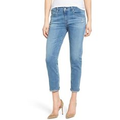 Women's Ag The Ex-Boyfriend Slim Jeans ($215) ❤ liked on Polyvore featuring jeans, slim fit blue jeans, cuff jeans, boyfriend fit jeans, frayed boyfriend jeans and frayed-cuff jeans