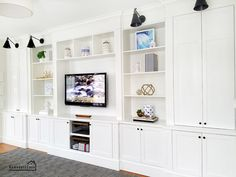 Built-in family room: the tools that made it easier - DIY . - Built-in family room: The tools that made it easier – DIY – Built-in entertainment unit in the - Built In Tv Wall Unit, Built In Shelves Living Room, Tv Built In, Living Room Wall Units, Diy Living Room Decor, Living Room Seating, Home Living Room, Built In Dining Room Seating, White Built Ins