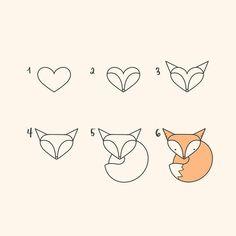 Comment dessiner un renard - Zeichnung schritt für schritt - Ruse Cute Easy Drawings, Kawaii Drawings, Doodle Drawings, Drawing Sketches, Drawing Guide, Drawing Faces, Simple Animal Drawings, Drawing Drawing, Fox Drawing Easy