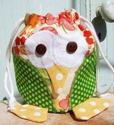 Bag pattern - PDF - Oliver Owl Drawstring Bag