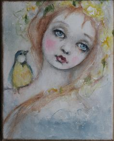 original girl child bird portrait yellow rose by fadedwest on Etsy, yellow rose of texas....