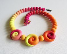 Ombré necklace in fuchsia orange and yellow by boxesforgroxes, $45.00