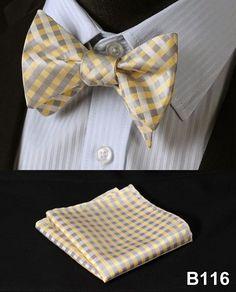 Plaid Check Bow Tie 100%Silk Men Classic Wedding Butterfly Self Bow Tie BowTie # B1