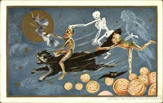 Flying Witch on Broomstick, Skeleton, Ghoul on Large Black Cat, Bats, Ghost and Jack-o-Lanterns - Halloween