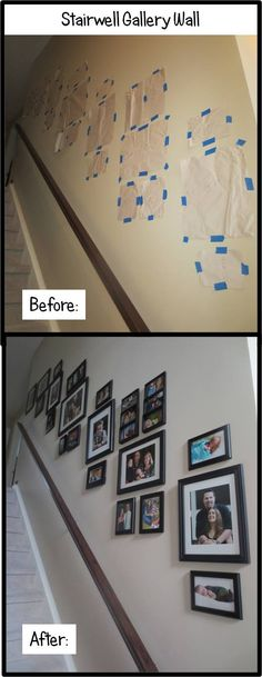 "Completed Stairwell Gallery Wall:  1.Trace frames on craft/scrap paper and cut them out.  2.Use painter's tape to affix frame cut-outs to the wall.  The key is to position your ""focal"" frames (the larger, central ones shown) on the same angle as the railing/staircase 3.Measure the hooks on the back of each frame and nail each picture hook to the wall based on the cutouts.  OR...use a ""Hang and Level"" tool, I swear by it for photo displays.  4. Hang all your frames and tear away paper…"