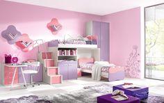 Idées de décoration,: Casual Chambre enfant de fille de décoration utilisant mur rose En Chambre Along With fille Violet Rose superposés Et Fille rose pourpre ordinateur de bureau