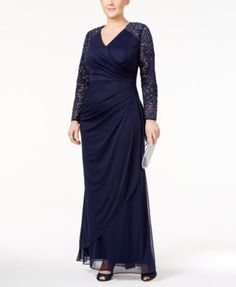 Alex Evenings Plus Size Lace-Sleeve Surplice Gown | macys.com