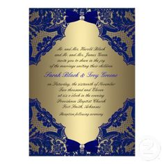 blue and gold wedding invitations