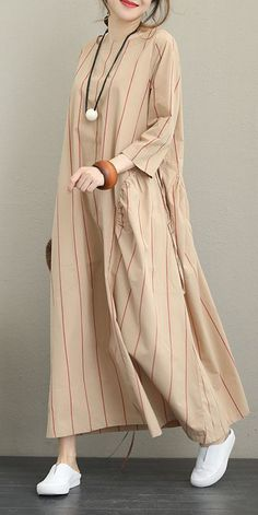 Name: Striped Loose Maxi Dress For Women Fabric: Fabric has no stretchSeason: Spring,FallType: Dress Sleeve Length: Long sleeveColor: Black,BeigeDresses Length: MaxiStyle: CasualMaterial: Co Linen Dresses, Modest Dresses, Modest Outfits, Stylish Outfits, Maxi Dresses, Casual Dresses, Muslim Fashion, Modest Fashion, Hijab Fashion