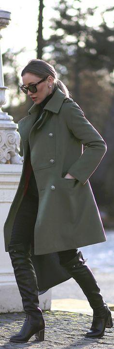 Army Green Coat / Fashion By Chisiu Ioana - Carmen