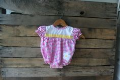 Vintage Pink Yellow & White Gingham Floral Romper by by vintapod