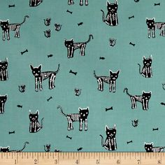 Cotton   Steel Boo My Pet Skeleton Teal from @fabricdotcom  Designed by Alexia Marcelle Abegg for Cotton   Steel, this cotton print collection is sure to bring a spooky aspect to your halloween themed quilt, apparel, or home decor sewing project. Colors include teal, black, and and white.