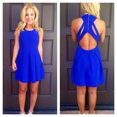Royal Blue Triad Cut Out Back Dress