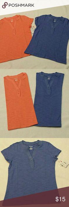 🌻 2 Brand New Shirt Bundle St. John's Bay Shirts. Brand New with Tags.  Short sleeve shirts with cute small ruffles on top. St. John's Bay Tops Tees - Short Sleeve