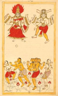 Above, the goddess Kali (shown with fangs, eighteen arms and flame above the head) loses a foot strap, next to Shiva dancing; bottom, four gods, including Brahma, swimming in the pond in the middle of the lotus. According to legend, the bracelet lost Kali turned into pond and the gods declared that holy place; this location was called Chidambaram. Kali could not, for shame, not lift the leg as Shiva let her win the competition. Karikal (Tanjore), entre 1727 et 1758 Om Namah Shivaya, Lord Shiva Painting, Nataraja, Tanjore Painting, India Art, Afraid Of The Dark, World Religions, Bnf, Indian Paintings