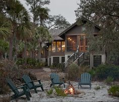 Cottage Backyard with fire pit. Cottage Backyard ideas. Fire pit Backyard. Cottage Backyard Ideas. #Cottage #Backyard #Firepit Wayne Windham Architect, P.A. Interiors by Gregory Vaughan, Kelley Designs, Inc. Photos by Atlantic Archives, Inc.