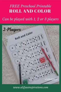 Roll and color is a fun preschool printable for kids. An Easy and engaging game that makes learning fun. Helps with matching, counting and math skills. Download and print at alifyasinspirations.