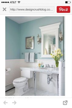 Powder room with white subway tile