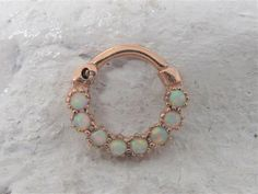316L surgical steel bar DAITH Ring 16g Gold Black OPAL /& TURQUOISE wire wrap Septum Clicker