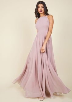 Excellent ensembles come and go, but this lilac maxi dress proves the right look can leave an everlasting impression. In a design exclusive to ModCloth, this gown features a high, square neckline, a strappy open back, and a full, fabulous skirt that will catch eyes, drop jaws, and steal hearts alike!