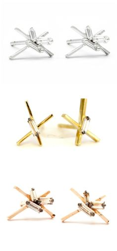 Three pairs of diamond studs by Suzanne Kalan, in white, rose, and yellow gold. Love the use of baguette diamonds here!