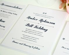 Whimsy and Script Wedding Invitations - Pretty, Whimsical, Unique Script Wedding Invite - Deposit    $100.00