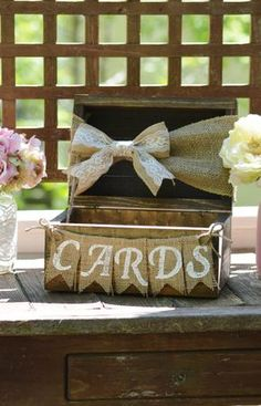 Rustic card box for wedding burlap wedding card box shabby chic card holder wooden chest burlap banner barn reception decor baby shower Burlap Wedding Decorations, Shabby Chic Wedding Decor, Reception Decorations, Rustic Wedding Chic, Wedding Country, Wedding Vintage, Rustic Style, Vintage Country Weddings, Vintage Party