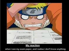 Naruto, funny, text, Chuunin Exam, my reaction when I see my exam paper and I realize I don't know anything; Manga Naruto, Naruto Comic, Naruto Sasuke Sakura, Naruto Shippuden, Manga Anime, Otaku Anime, Kakashi, Gaara, Noragami