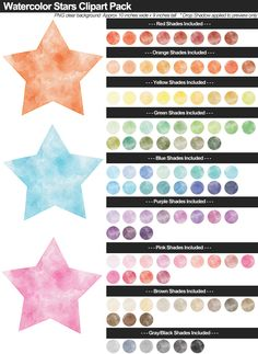 Watercolor Stars Clipart Pack