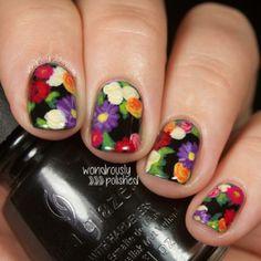 Flower nails with black background by Wondrously Polished