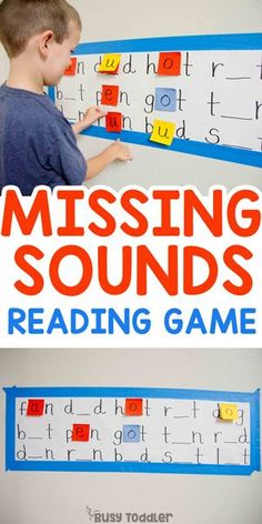 Missing Sounds Reading Activity: Hands-on reading activity; kindergarten activity; first grade activity; decoding  and CVC words from Busy Toddler