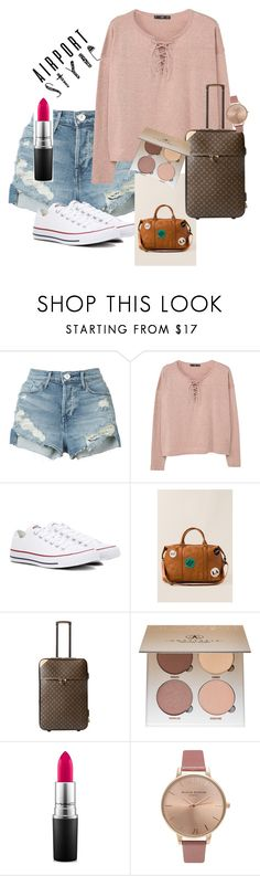 """JetSetter"" by chelsealane ❤ liked on Polyvore featuring 3x1, MANGO, Converse, Francesca's, Louis Vuitton, Anastasia Beverly Hills, MAC Cosmetics and Olivia Burton"